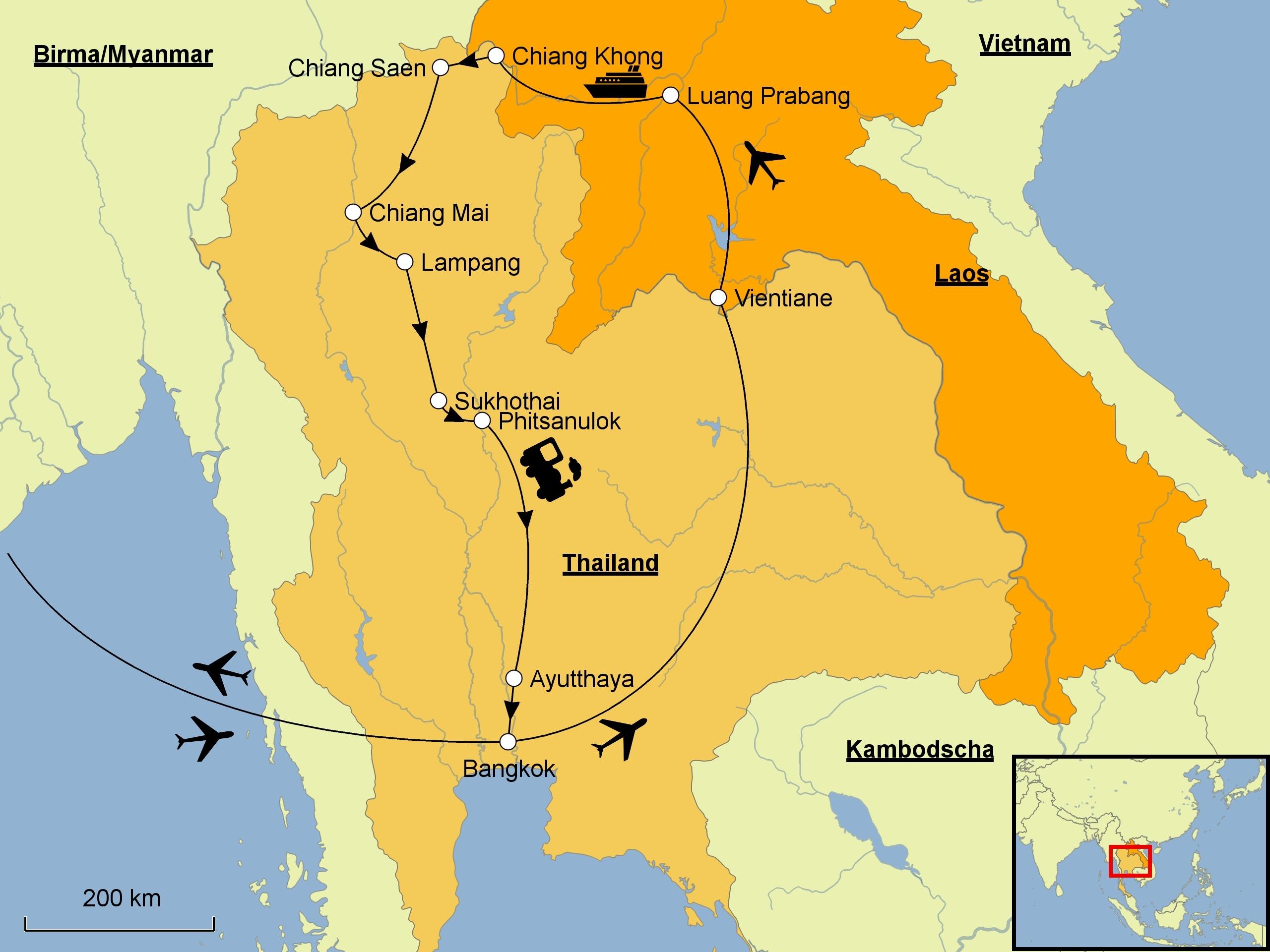 Thailand Karte.Laos Thailand