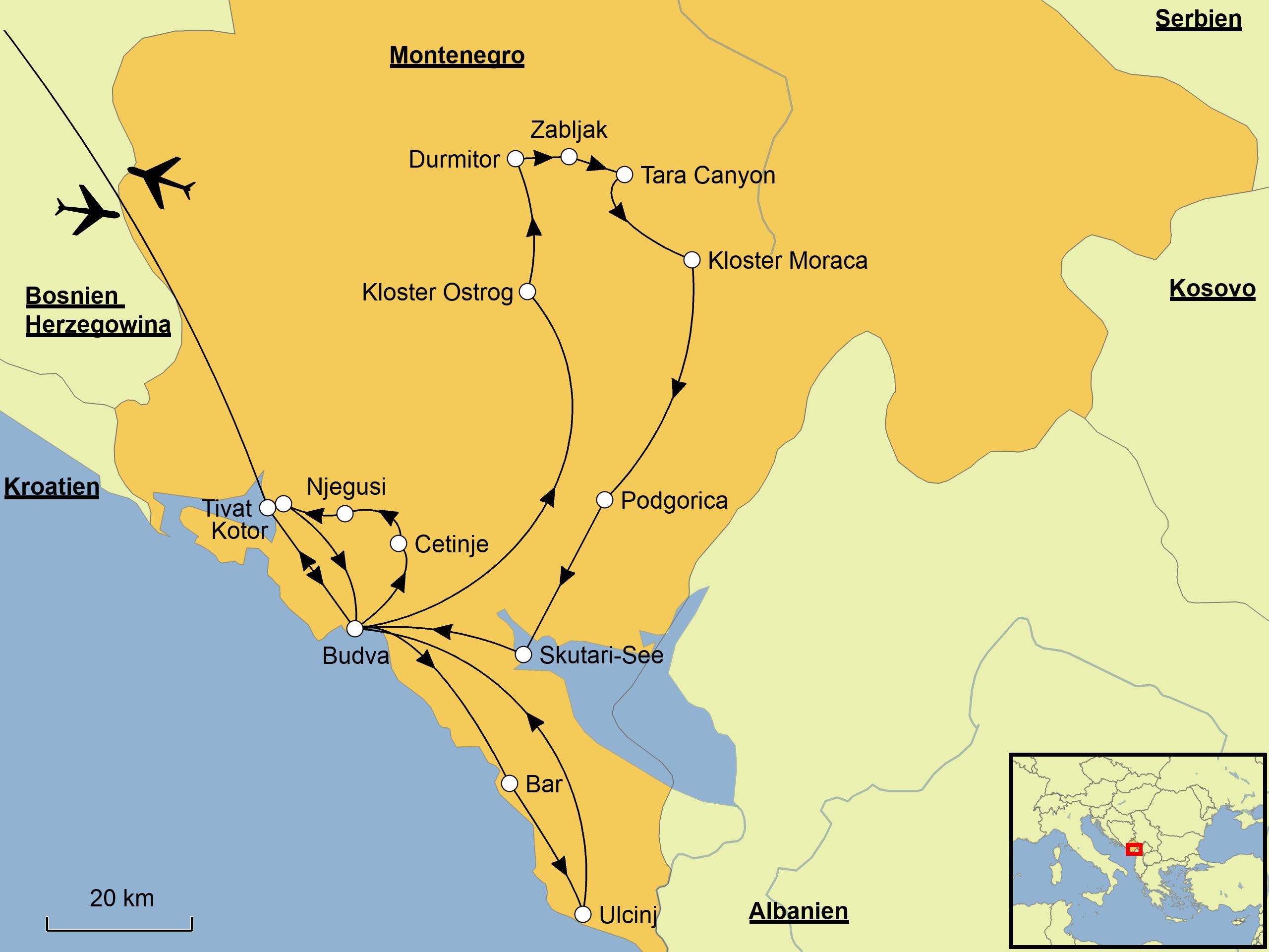 Kotor Montenegro Karte.Montenegro Srd Reisen