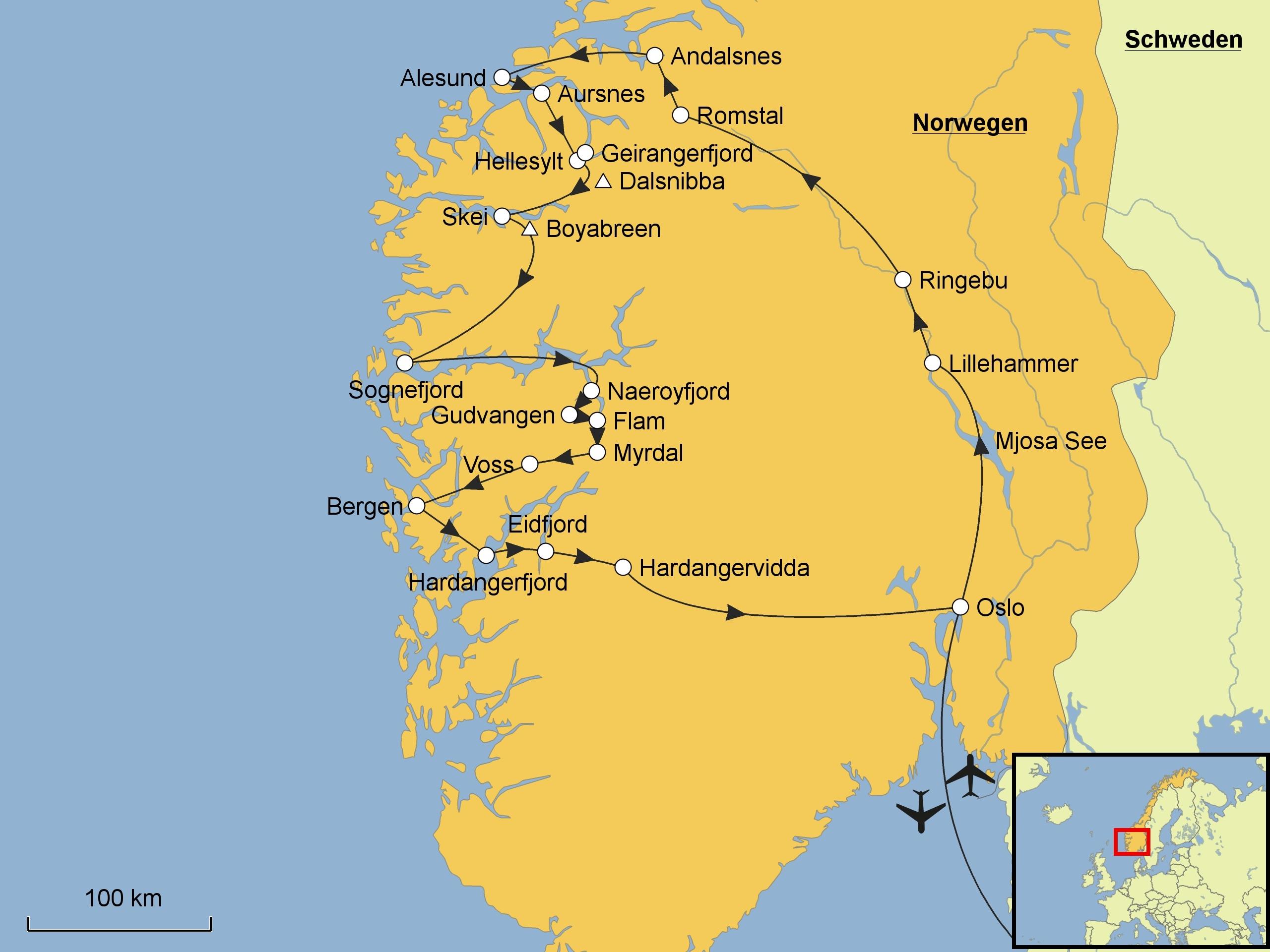 Karte Südnorwegen.Norwegen