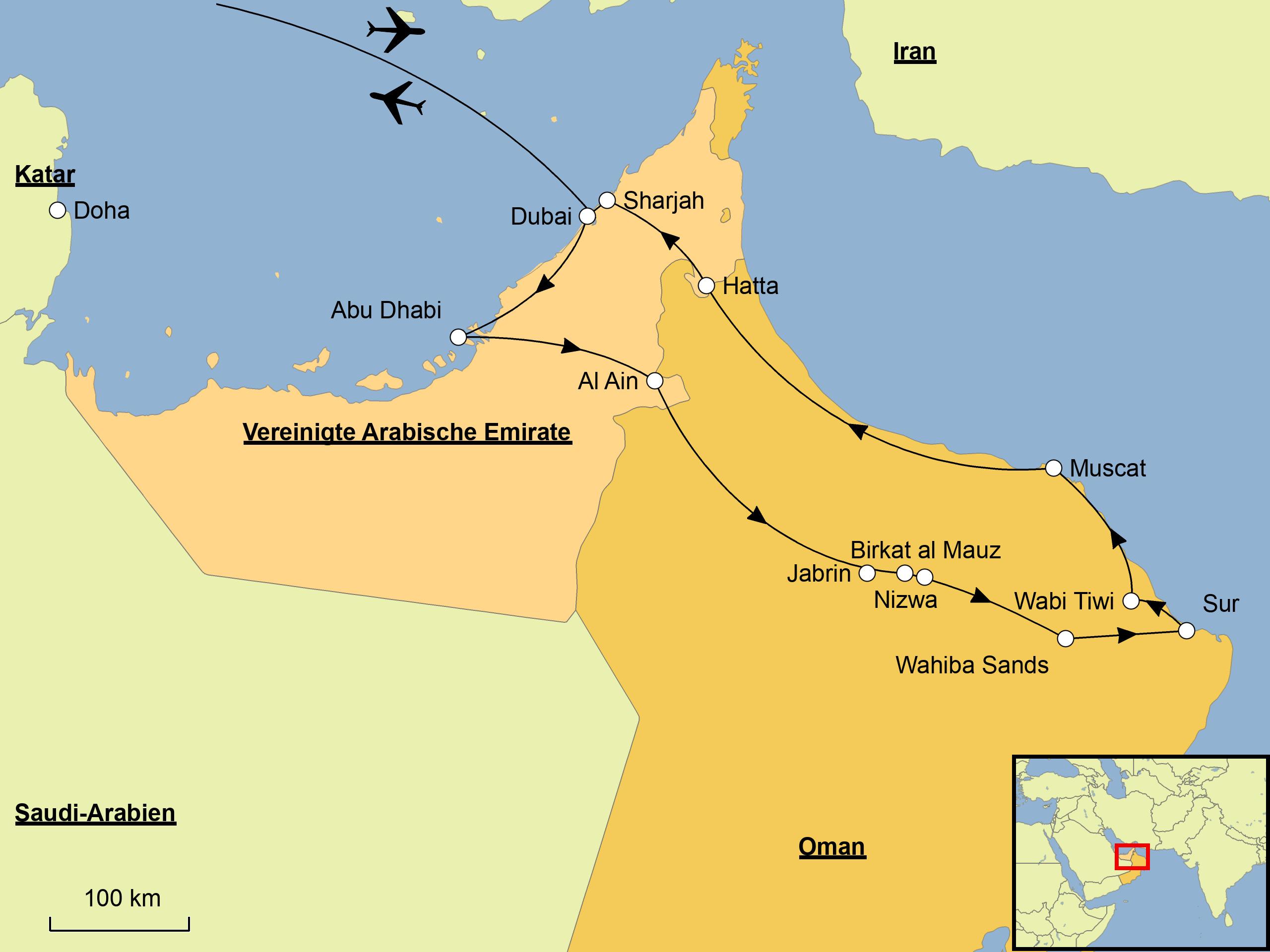 Karte Oman.Oman Mehr