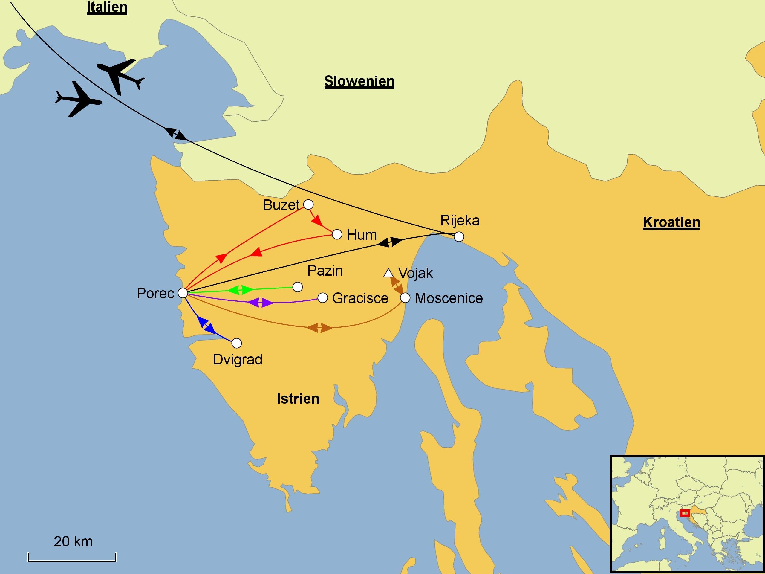 Kroatien Karte Istrien.Istrien Wandern