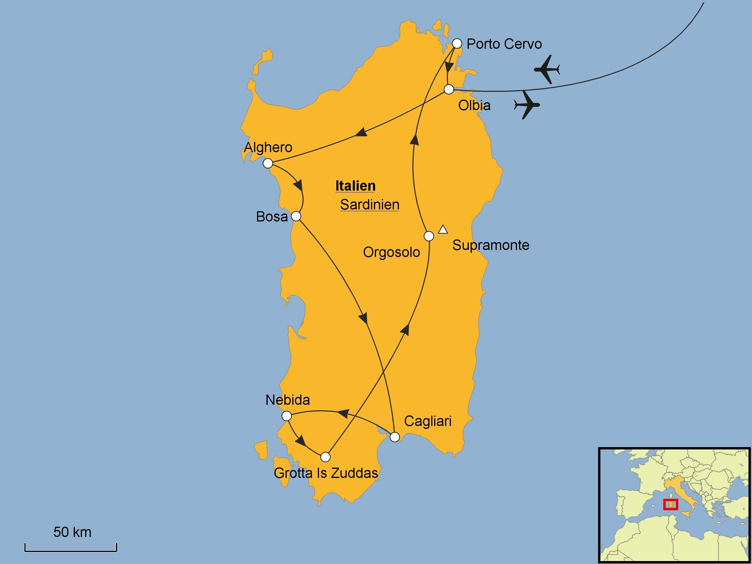 Karte Sardinien Süden.Sardinien Rundreise