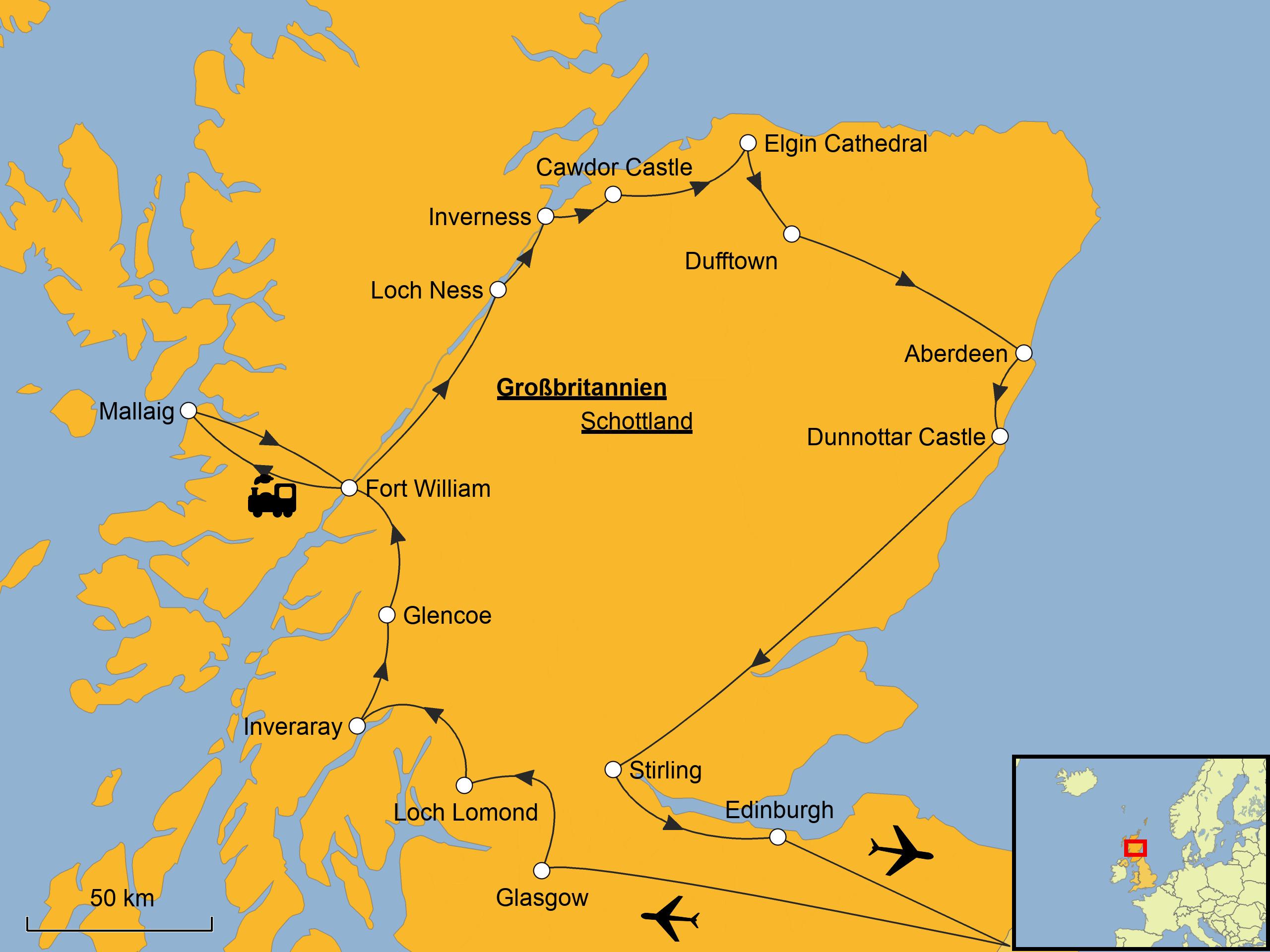 Schottland Karte Highlands.Schottland