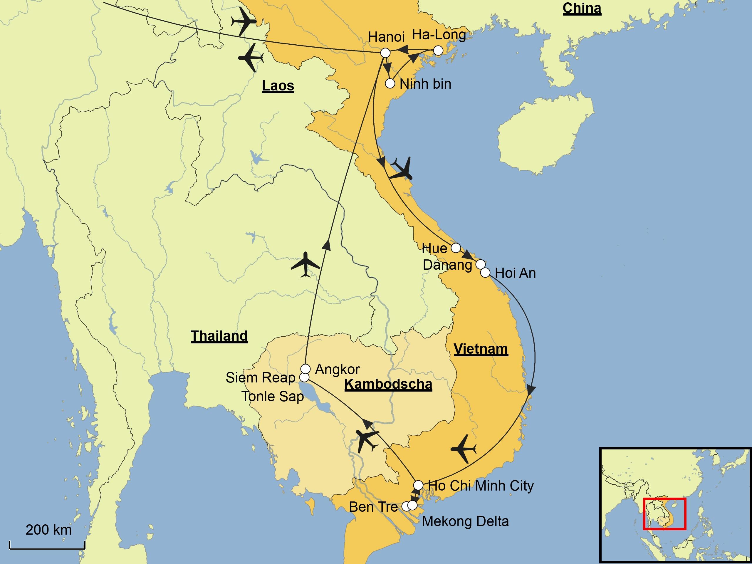 Kambodscha Karte.Vietnam Kambodscha