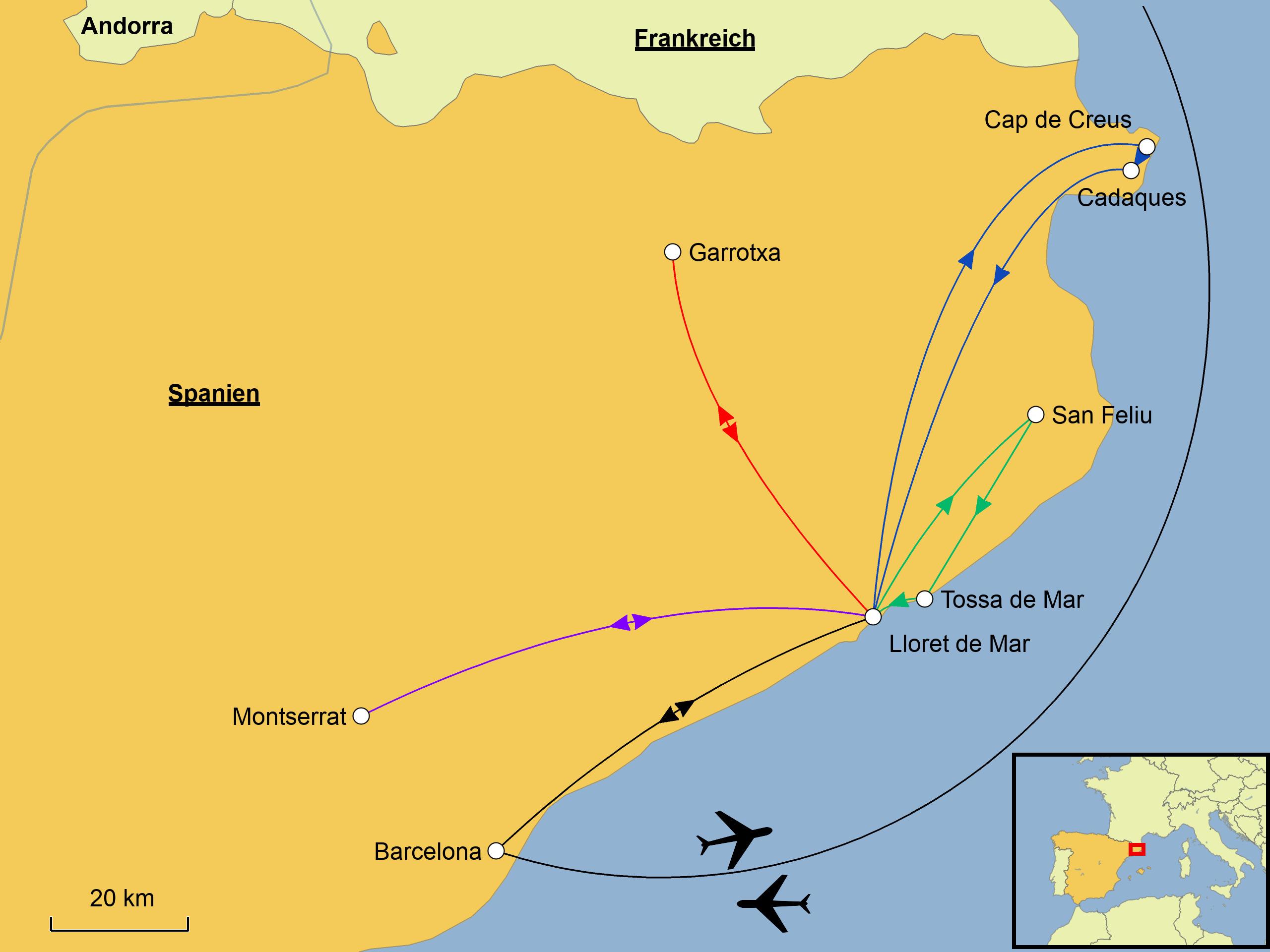 Karte Costa Brava Spanien.Costa Brava Wandern Srd Reisen