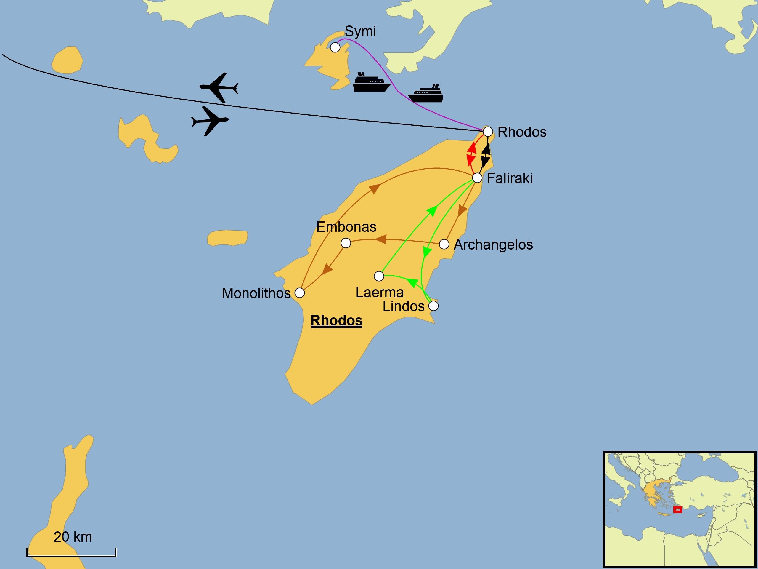 Rhodos Karte Flughafen.Rhodos