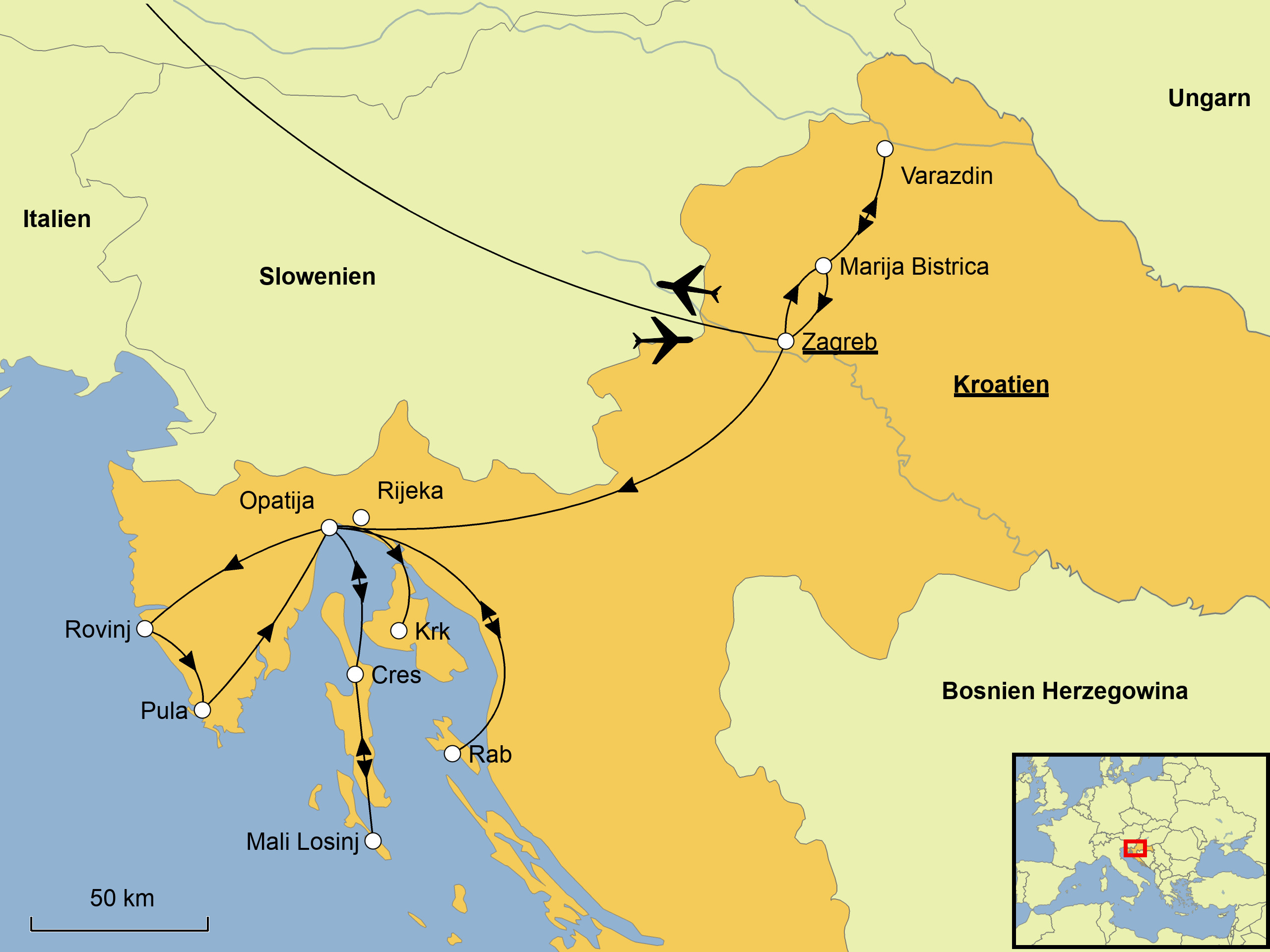 Karte Kroatien Pula.Kroatiens Norden Srd Reisen