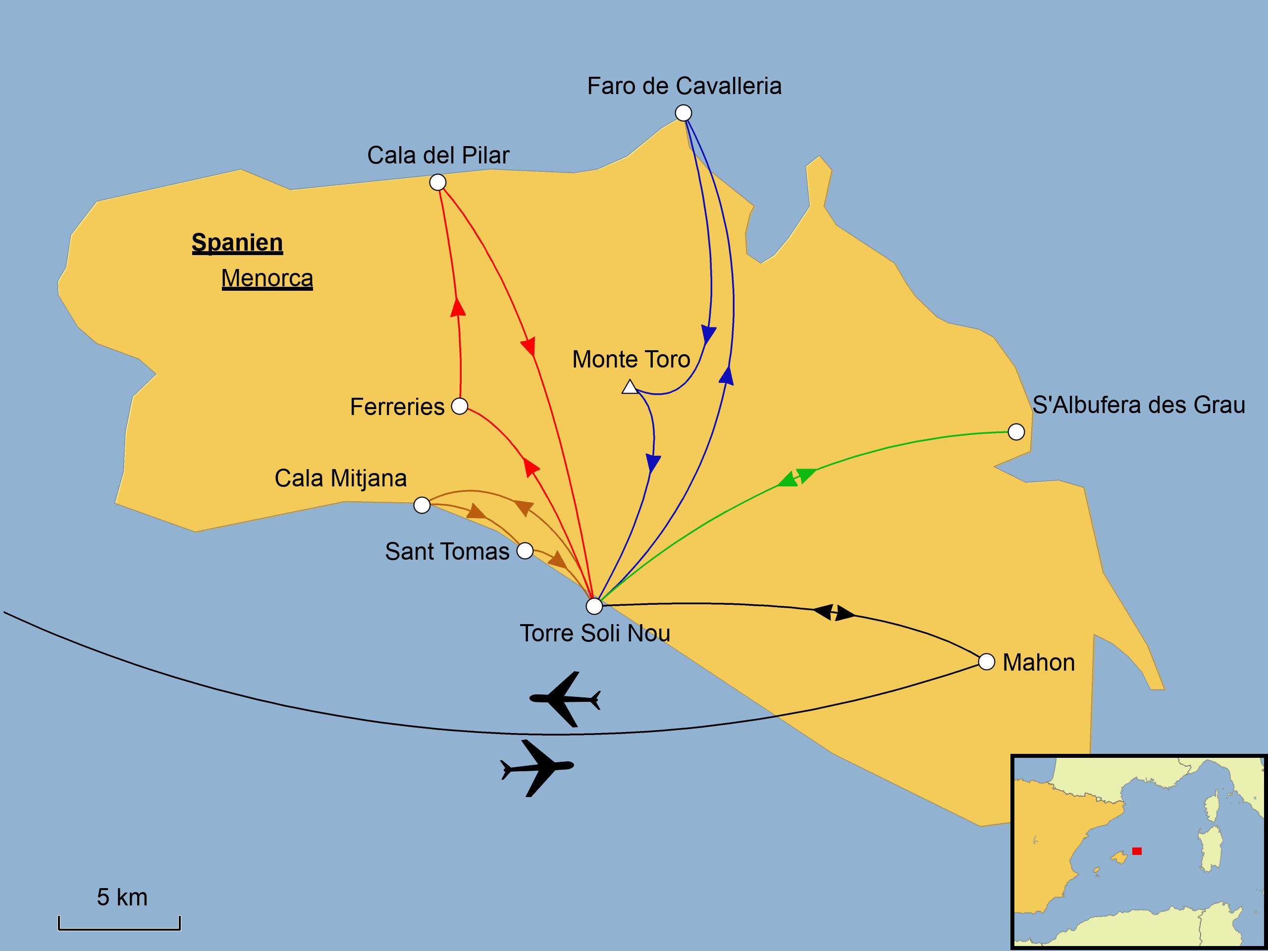 Insel Menorca Karte.Menorca Wandern