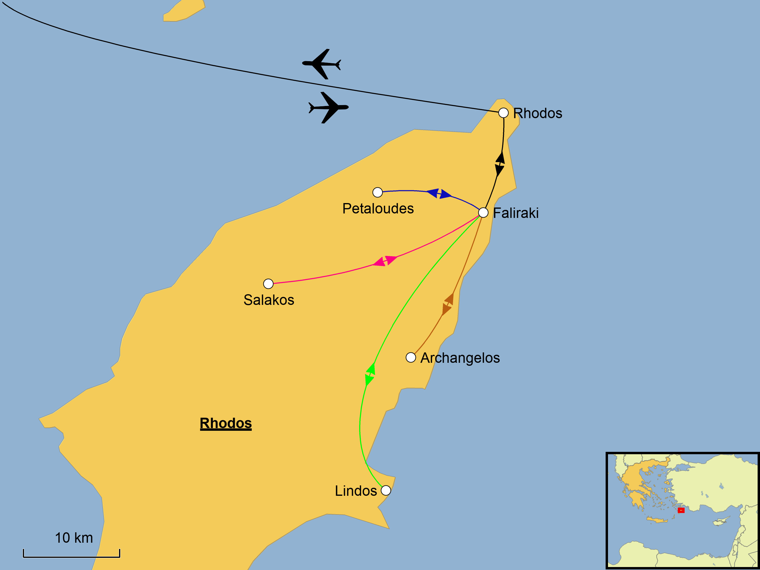Rhodos Karte Flughafen.Rhodos Wandern