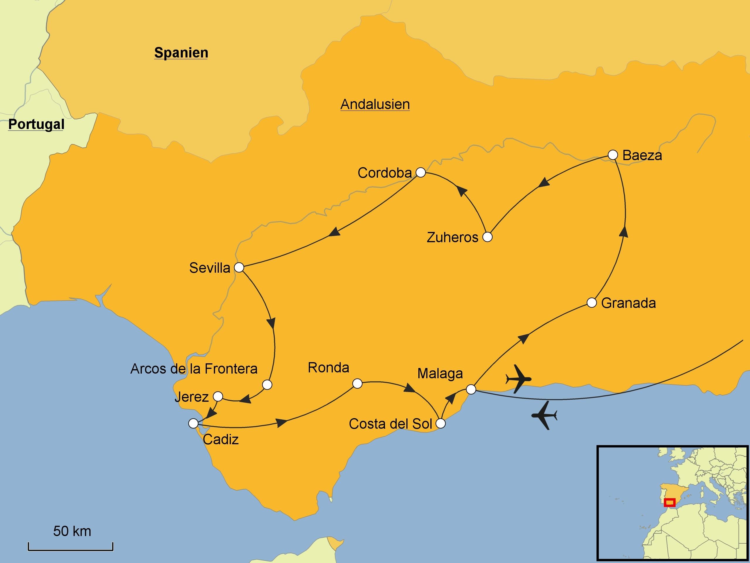 Karte Andalusien Cadiz.Andalusien