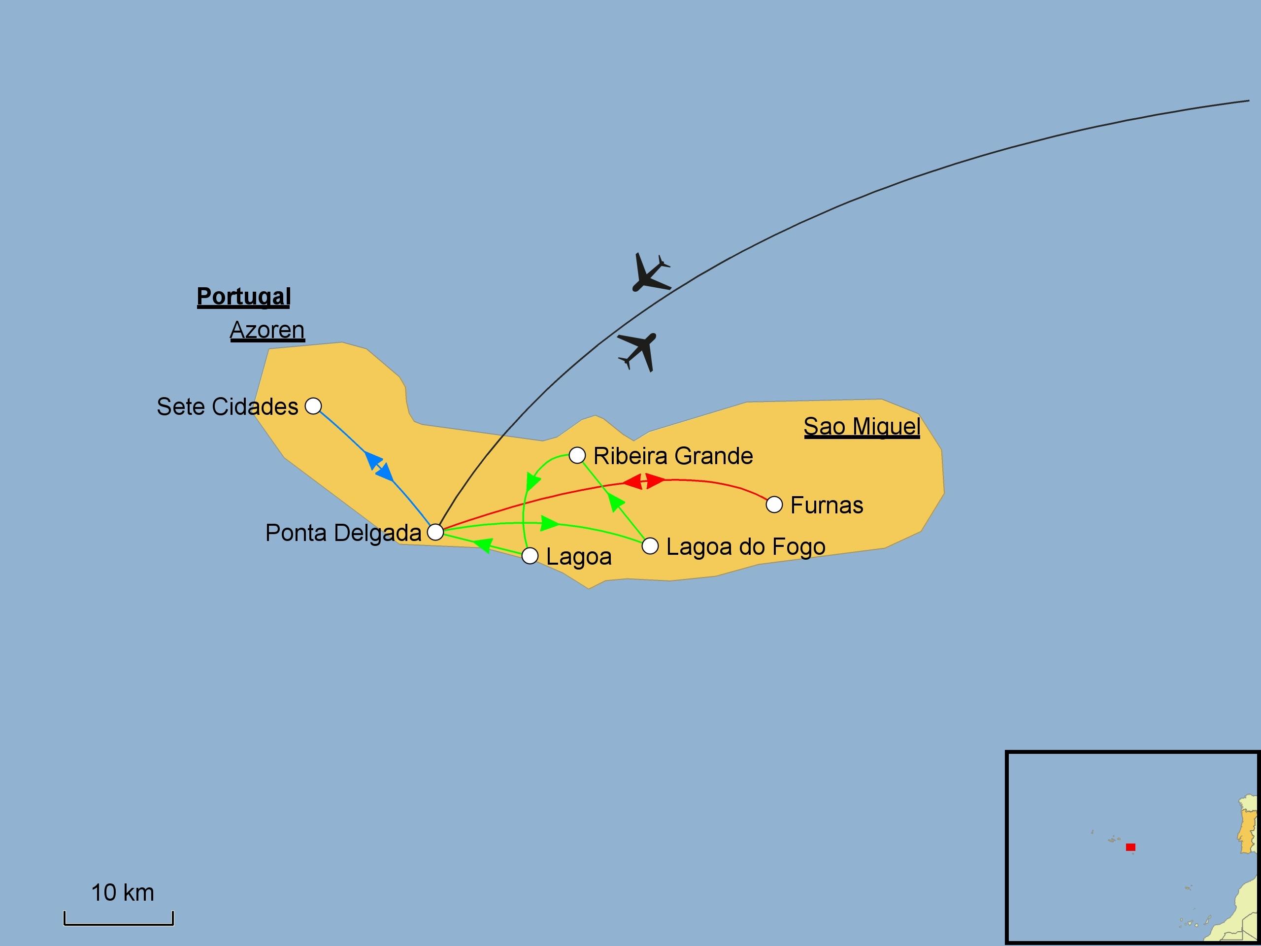 Azoren Karte.Azoren